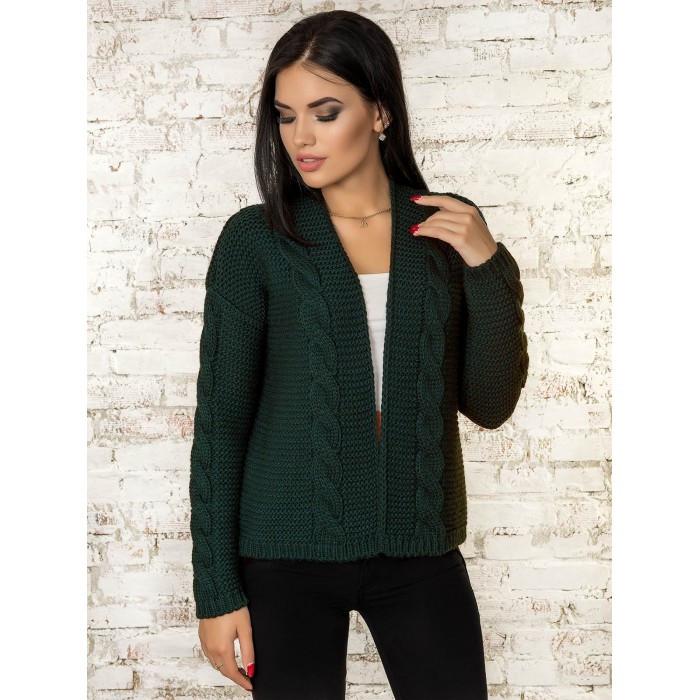 Вязаная короткая кофта кардиган  вязаный пиджак зеленый 42-46