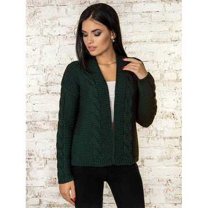 Вязаная короткая кофта кардиган  вязаный пиджак зеленый 42-46, фото 2