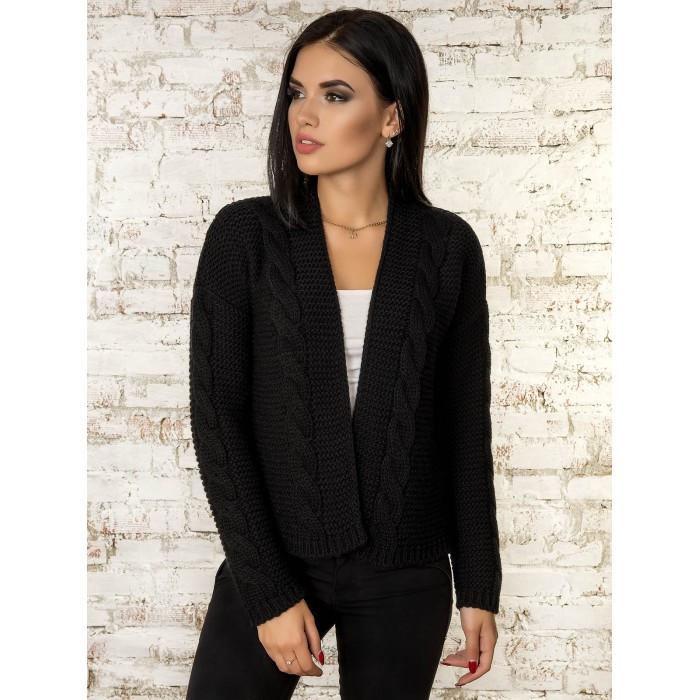 Вязаная короткая кофта кардиган  вязаный пиджак черный 42-46