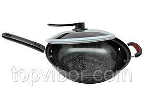 🔝 Сковорода, 32 см, вид-, сковорода WOK, посуда для индукционной плиты   🎁%🚚