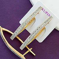 Женские стильные серьги позолота XР. Медицинское золото. Код:1329