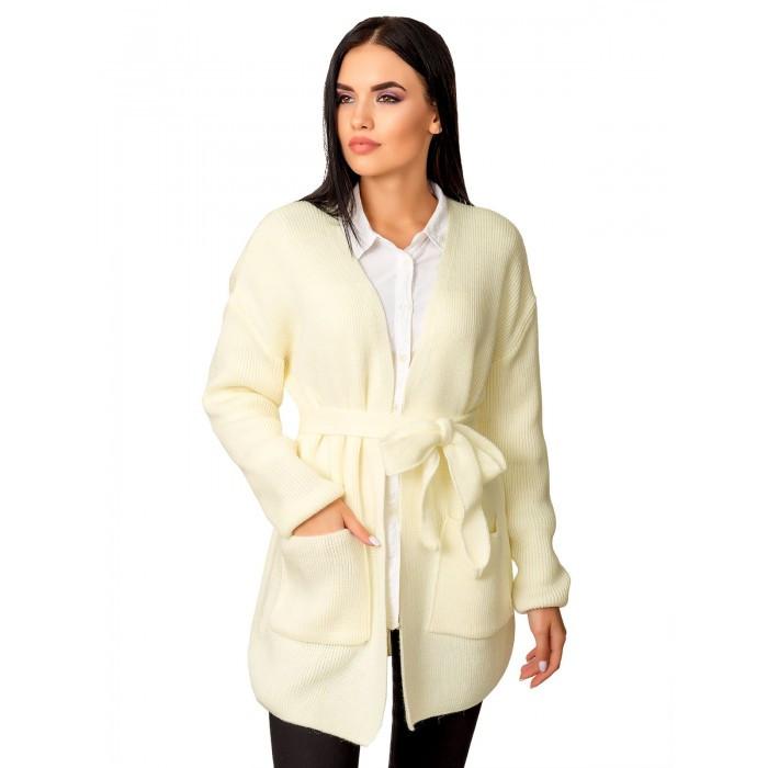 987edd10753 Вязаный молочный кардиган пиджак кофта с поясом вязаная размер 44-50  оверсайз - Интернет -