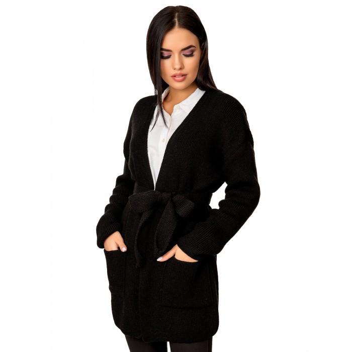 Вязаный черный кардиган пиджак кофта с поясом вязаная размер 44-50 оверсайз