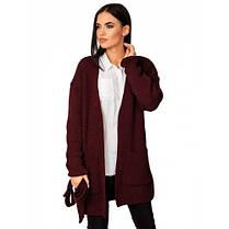 Вязаный черный кардиган пиджак кофта с поясом вязаная размер 44-50 оверсайз, фото 2