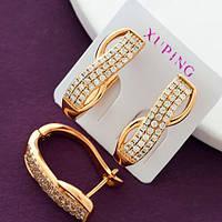 Женские серьги, позолота XР. Медицинское золото. Код:1669