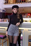Женские шорты с карманами высокая талия шанель букле размер:42-44,46-48,50-52,54-56