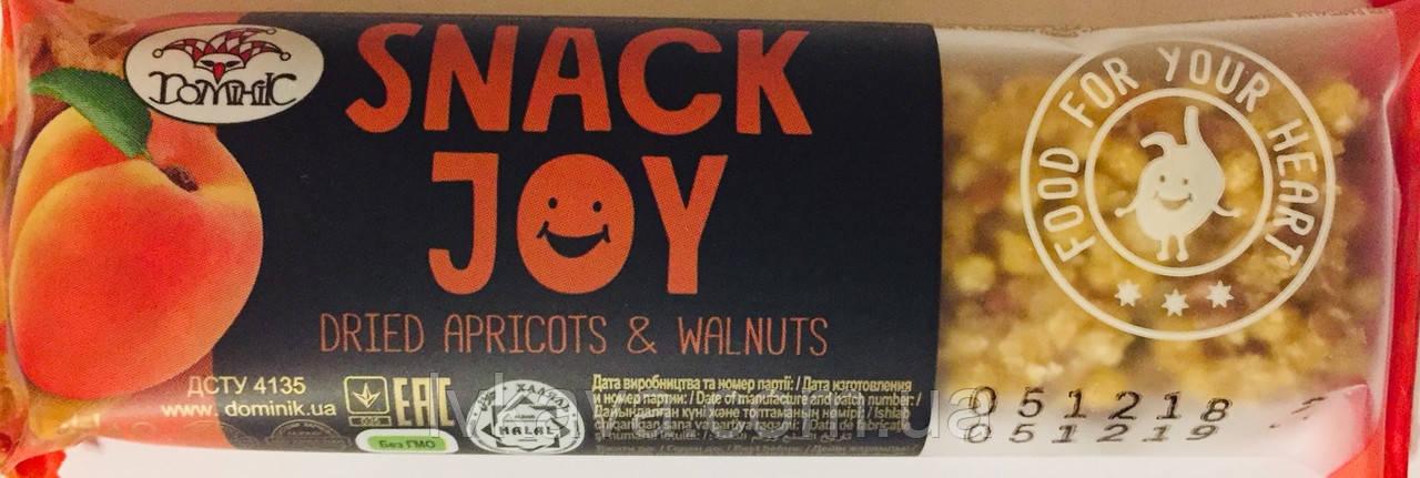 Мультизлаковый батончик Snack Joy с курагой и греческим орехом  Доминик , 30 гр