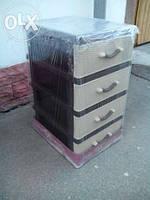 Комод пластиковый мини на 4 ящика бежево-коричневый