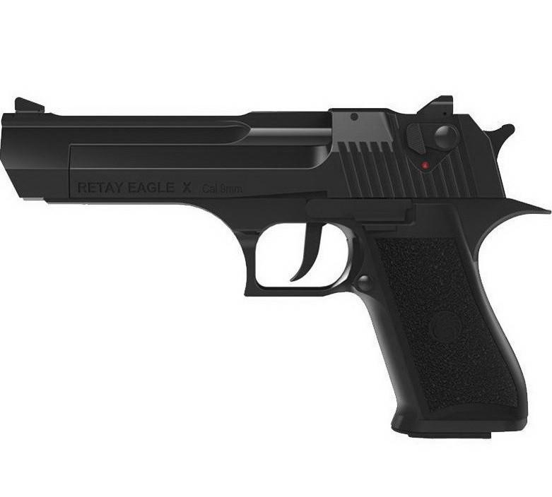 Пистолет сигнальный, стартовый Retay Desert Eagle Х (9мм, 19 зарядов), черный