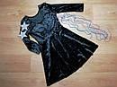 Нарядное черное велюровое платье на девочку (Размер 8-10Т) H&M (Англия), фото 2