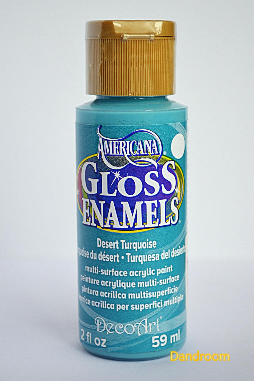 Краска акриловая непрозрачная, для стекла и керамики, Бирюзовая, Americana, 59 мл, DecoArt