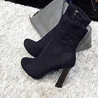 Ботинки женские демисезонные весна-осень на каблуке черные искусственная замша, фото 1