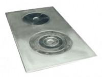 Плита чугунная 2-х конфорочная блестящая (кокиль), 71х41 см