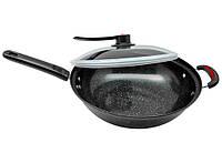 🔝 Сковорода, 32 см, вид-, сковорода WOK, посуда для индукционной плиты | 🎁%🚚