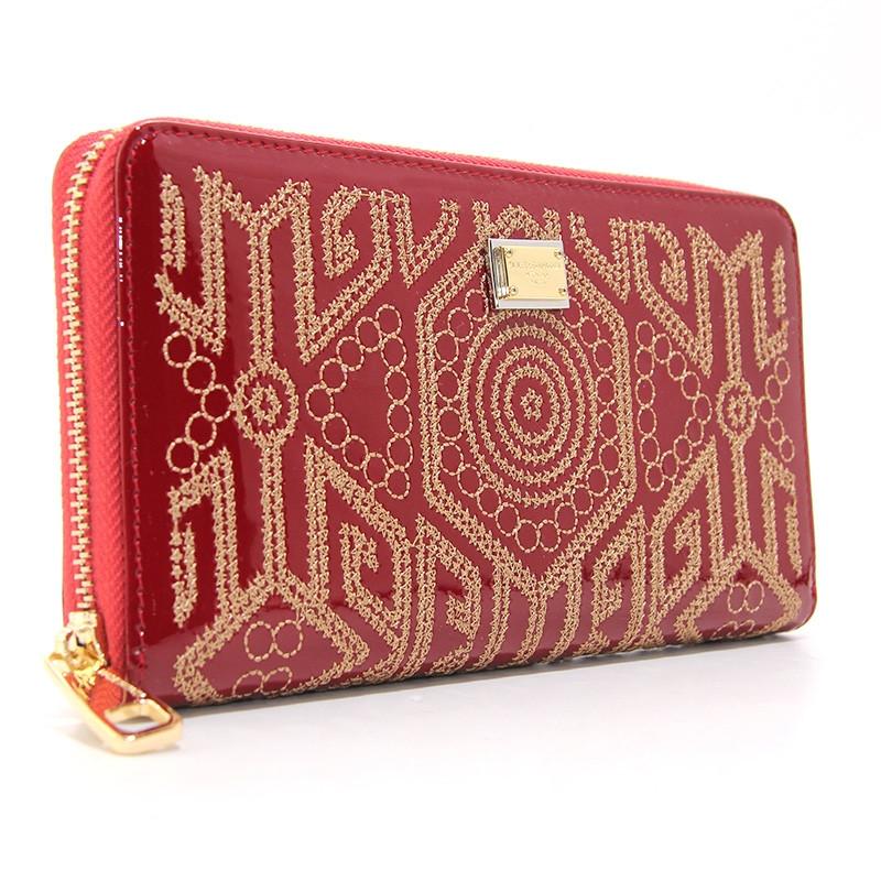 f8997cecbef6 Красный кошелек dg-60103 red женский кожаный на молнии лаковый с  орнаментом, фото 1