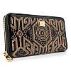 Черный женский кожаный кошелек 60103 лаковый вышивка орнамент на молнии
