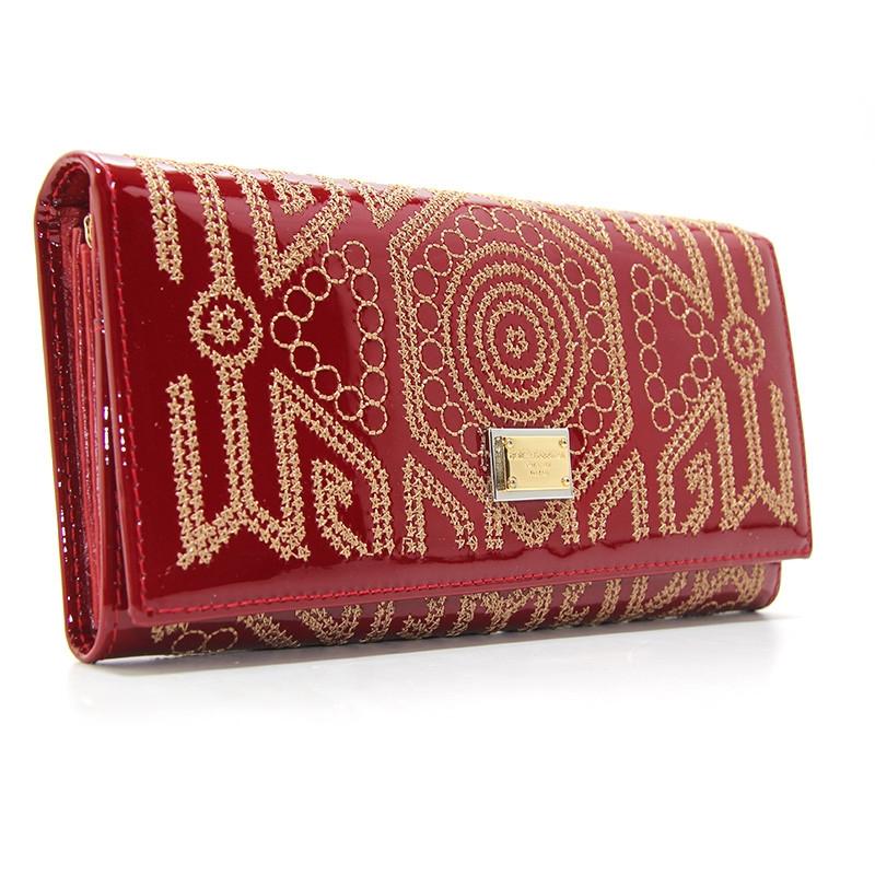 789a1a8b5fdc Красный кошелек dg-60101 red женский кожаный на кнопке лаковый с  орнаментом, фото 1