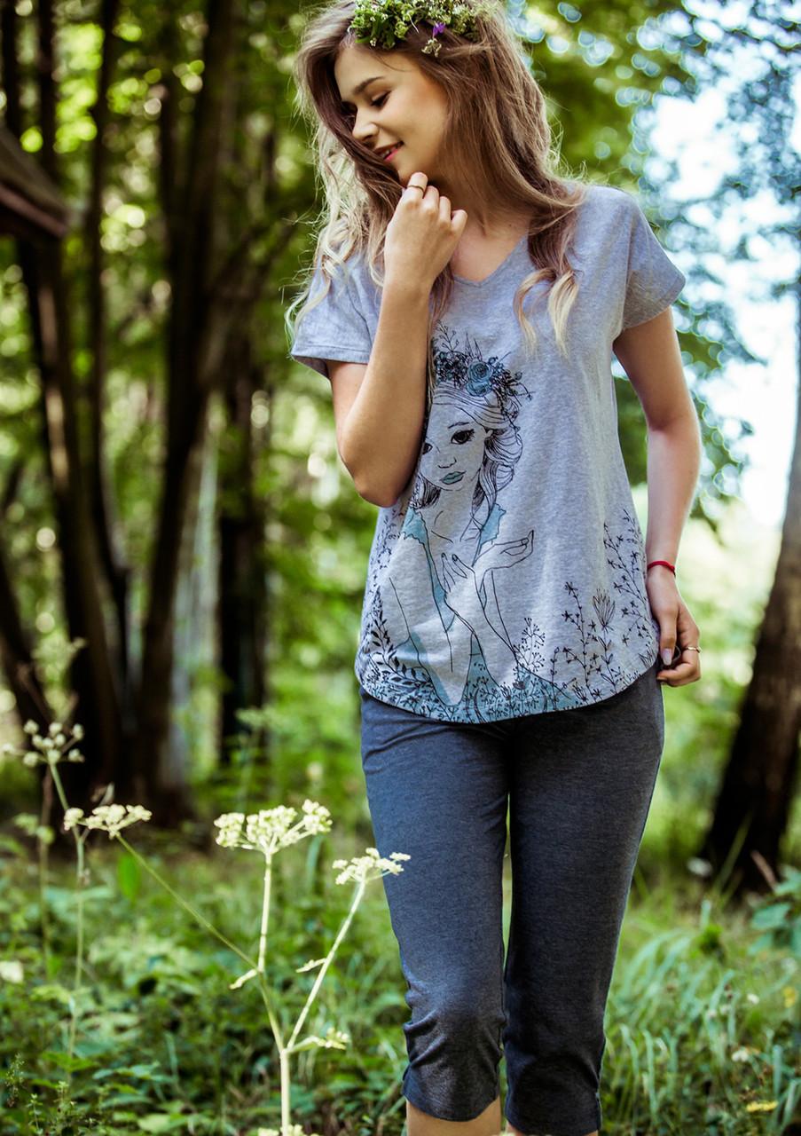 М'яка бавовняна жіноча піжама з притлаеною футболкою та 7/8 штанами KEY LNS 799
