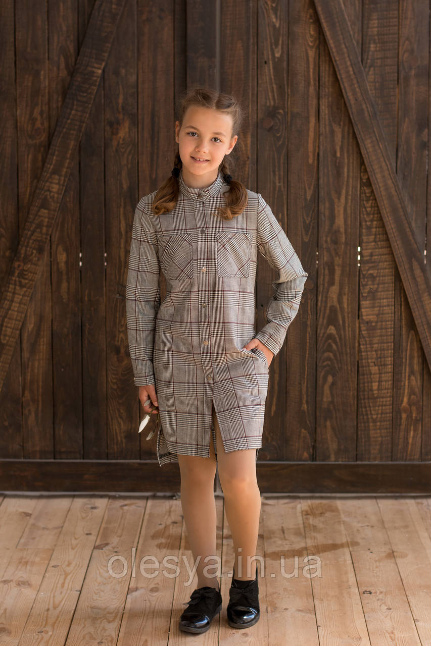 Платье детское  коричневая  клетка Размеры 134- 170