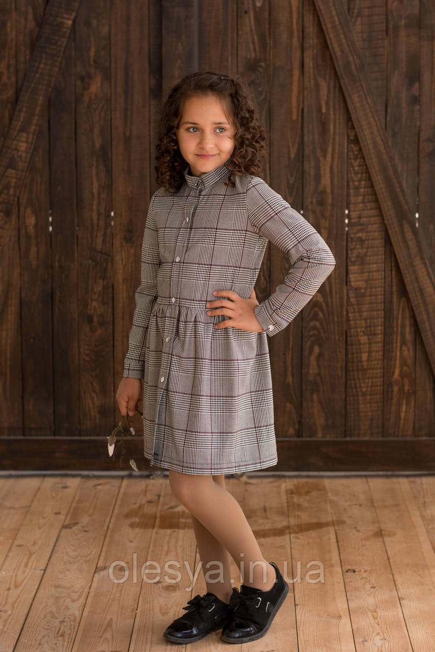 Платье детское  клетка бордо