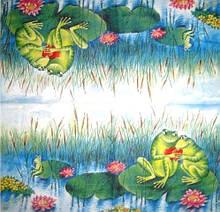 Рідкісна декупажна серветка Закохані жаби 4353