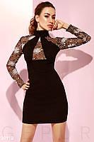 Черное вечернее платье из замши