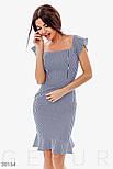 Легкое облегающее платье синего цвета в полоску, фото 2