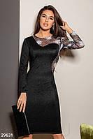 Черное вечернее платье с асимметрией