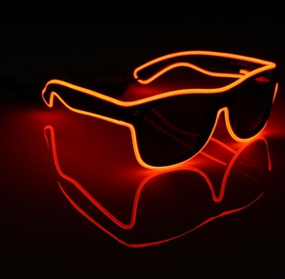 Очки светодиодные  солнцезащитные El Neon ray red неоновые
