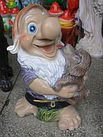 Садовая фигурка Гном с щенком 47 см