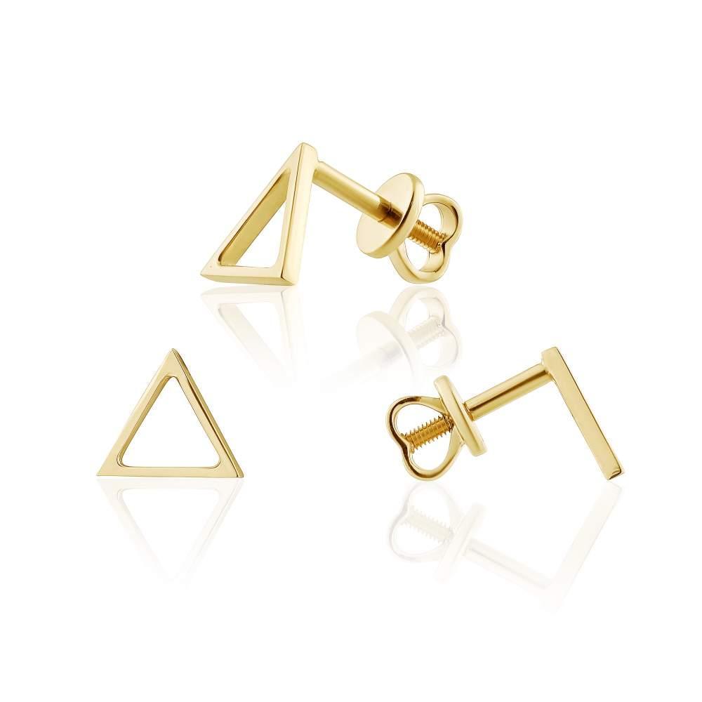 """Серьги-пусеты треугольной формы без вставок в стиле """"Модернизм"""", желтое золото, С0428/2G Eurogold"""