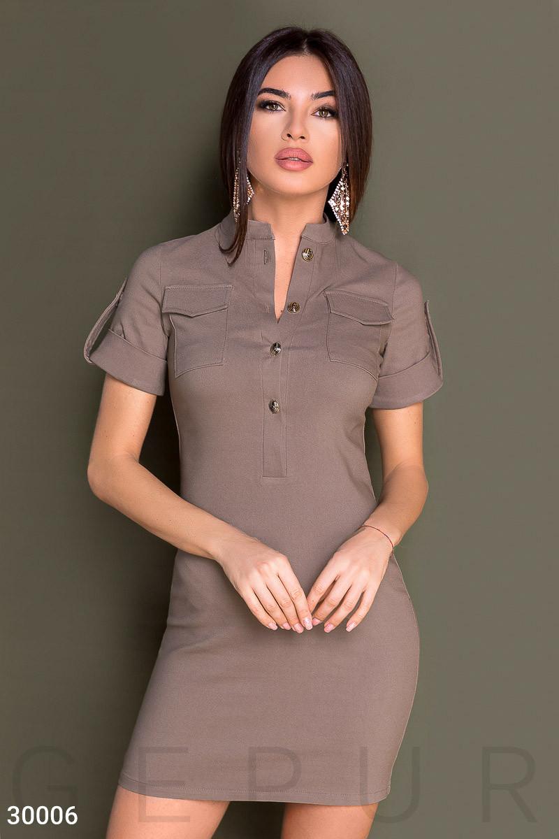 Деловое платье мини с коротким рукавом кофейное
