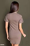 Деловое платье мини с коротким рукавом кофейное, фото 3