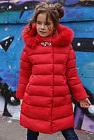 Зимнее пальто на девочку  Деника, мех песец