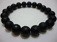 Браслет лечебный из натурального камня Шунгит высшей категории с алмазной огранкой, 10 мм.