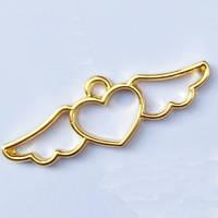 """Подвеска """"Сердечко с крыльями""""  металл, под заливку смолой, цвет золото, набор 2шт."""