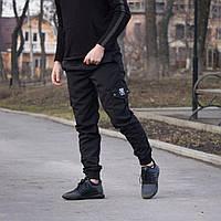 Мужские легкие штаны с манжетом Cargo Украина ТОП черные