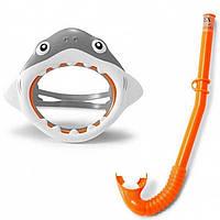 Набор для плавания маска + трубка Intex 55944 Акула гипоалергенный Серый