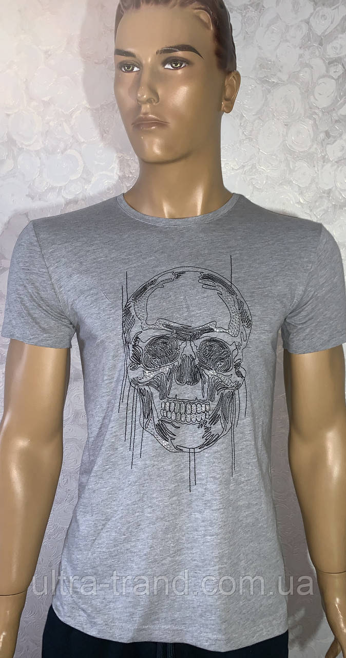 Мужские турецкие футболки с вышивкой череп