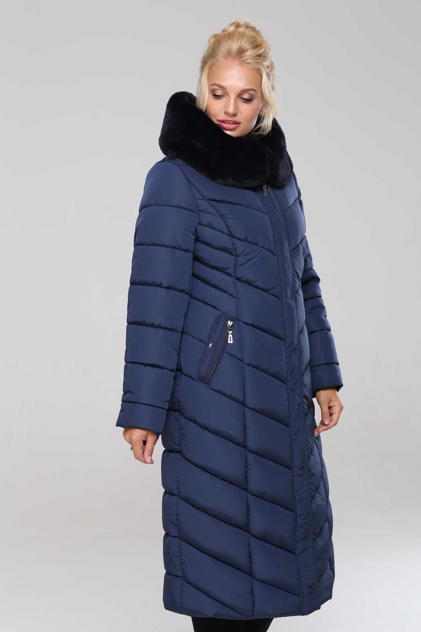 Женское зимнее классическое пальто Амаретта,48-64р, мех мутон
