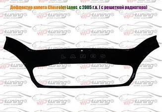 Мухобойка Chevrolet Lanos (с решоткой радиатора) (2005>) (VT-52) Дефлектор капота накладка
