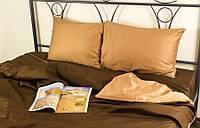 Комплект постельного белья Руно Евро сатин арт.845.137К_Шоколадний