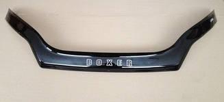 Мухобойка Peugeot Boxer (С заходом на фары) (2014>) (VT-52) Дефлектор капота накладка