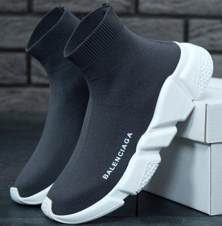 Мужские и женские кроссовки Balenciaga Speed Trainer Sock Grey/White