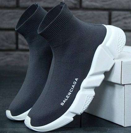 Мужские и женские кроссовки Balenciaga Speed Trainer Sock Grey/White, фото 2