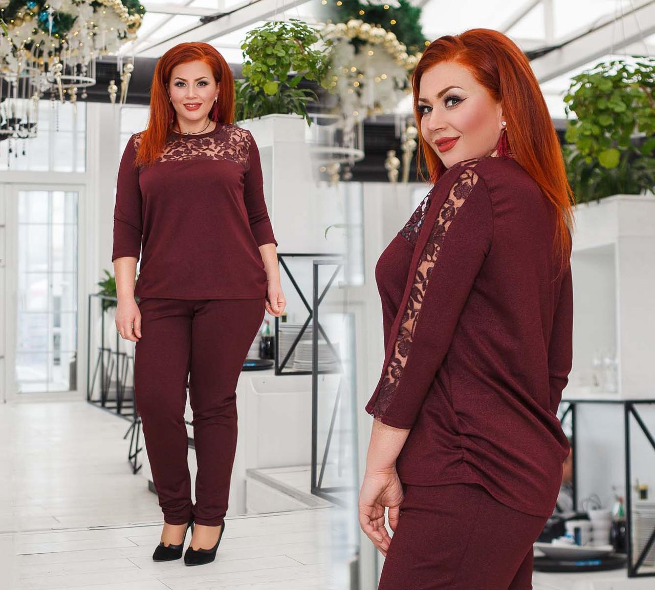 """Ошатний жіночий брючний костюм у великих розмірах 41224 """"Дубаї Кокетка Вишивка"""" в кольорах"""