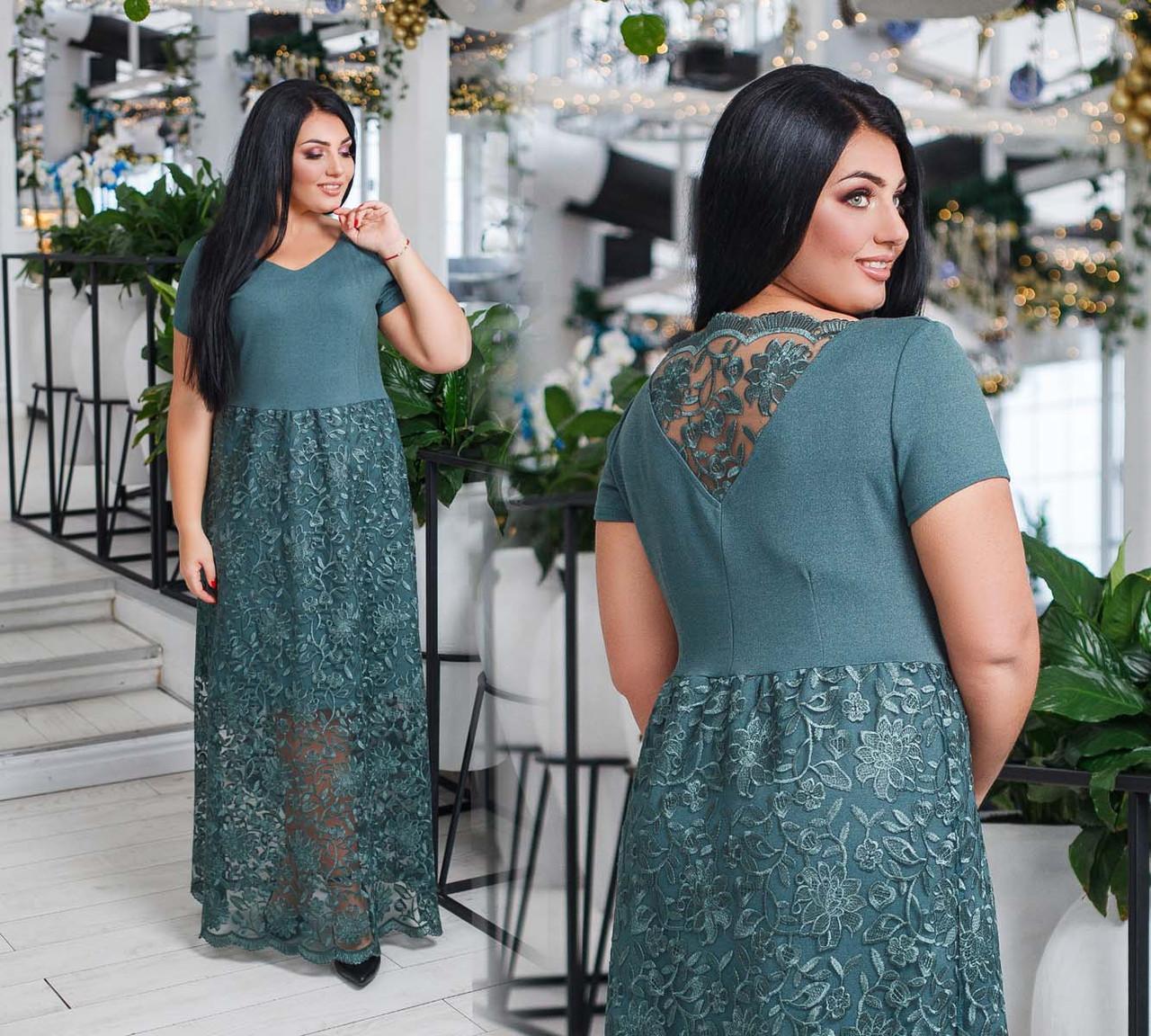 """Вечернее длинное женское платье в больших размерах 41240 """"Дубаи Кружево Вышивка Макси"""" в расцветках"""