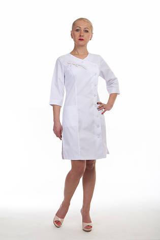 Коттоновый белый медицинский халат с боковой застежкой 3129 ( коттон 42-60 р-р), фото 2