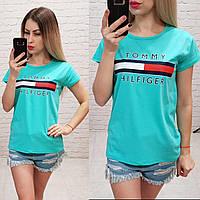 Женская футболка летняя 100% катон реплика Tommy Hilfiger Турция голубая, фото 1
