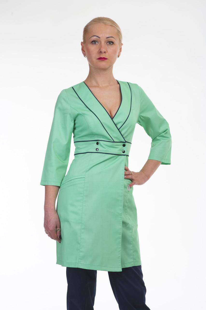 Медицинский женский халат на запаз 3134 ( коттон 42-56 р-р)